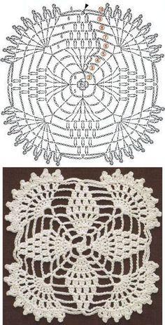Crochet Edgings Patterns Patterns and motifs: Crocheted motif no. Crochet Edging Patterns, Granny Square Crochet Pattern, Crochet Borders, Crochet Diagram, Crochet Round, Doily Patterns, Crochet Squares, Crochet Chart, Thread Crochet