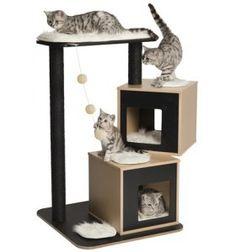 Rascador para gatos Vesper V-Doble Negro 86x65x103cm