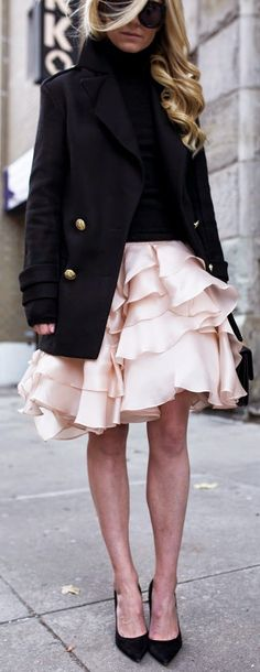 Light Pink Cascading Ruffle A-line Midi Skirt by Atlantic - Pacific