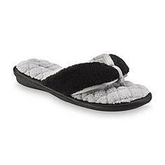 Pink K Women's Clarissa Black/Gray Flip-Flop Slipper