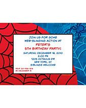 Custom Invitations - Spiderman Web Party Invitation