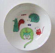 Cute childrens plate Nooan arkki; Noah's ark, 60's Arabia porcelain Finland