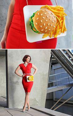 Fashion Bags : Food-Inspired Handbags That Will Make You Hungry Unique Handbags, Unique Purses, Handmade Purses, Cute Purses, Handbags On Sale, Purses And Handbags, Fashion Models, Fashion Bags, Creative Bag