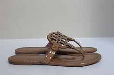 bf3ed2a376db35 sz 8 Tory Burch Miller Nude Leather Logo Thong Flip Flop Flat Sandal Shoes.  Elizabeth · Sandals ...