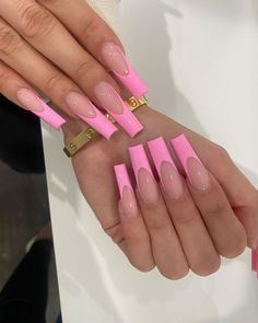 Pink Tip Nails, Acrylic Nails Coffin Pink, French Tip Acrylic Nails, Short Square Acrylic Nails, Simple Acrylic Nails, Coffin Nails, Long French Tip Nails, Long Square Nails, Colored Acrylic Nails