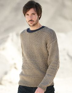 Model / Pattern of Sweater of Man of Autumn / Winter from KATIA Knitting Projects, Knitting Patterns, Sweaters For Women, Men Sweater, Latest Fashion, Mens Fashion, Fall Winter, Autumn, Pulls