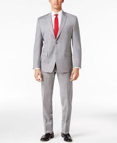 Michael Michael Kors Men's Classic-Fit Light Gray Sharkskin Peak Lapel Suit
