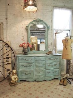 Rustic, vintage light aqua blue dresser love to re-purpose vs buying new and having new... dare to be different vs out of the box...love