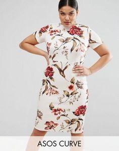 ASOS CURVE Floral Print T-Shirt Bodycon Dress