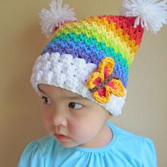 CROCHET PATTERN  Over the Rainbow  a colorful square by TheHatandI, $5.50