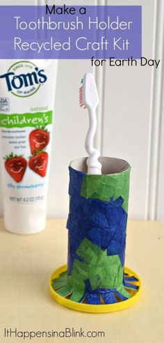 Make a Toothbrush Holder Recycled Craft Kit     #ad  #NaturalGoodness     Use recycled items to make this Earth Day craft kit for kids