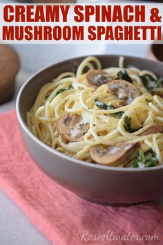 Creamy Spinach & Mushroom Spaghetti. This is an easy, delicious, meatless recipe! Click on over for the recipe and a peak into our day-to-day life!