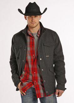 Powder River Men's Baines Diagonal Wool Heather Coat 92-8797