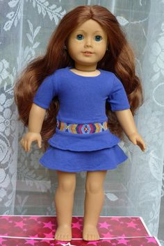 "Saige 2013 GOTY American Girl 18"" Doll Blue Eyes Auburn Hair Meet Outfit Book #AmericanGirl #DollswithClothingAccessories"