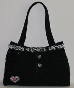 Snow Leopard Belt, Buttons & Heart Black Denim Jeans repurpose into Bag. https://poshmark.com/closet/haveheartdailys?availability=all&spt=true