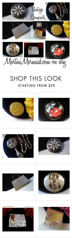 """Vintage Compacts..."" by martinimermaid ❤ liked on Polyvore featuring beauty and vintage"