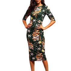 Tonsee Women Sexy Vneck Printing Slim Bodycon Dress S