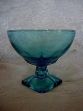 Vintage HAZEL ATLAS Moroccan Square Turquoise Blue Glass Compote/Footed Bowl ebay $49.99