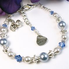 Courage Bracelet, Blue Pearls Sapphire Crystals Swarovski Adjustable | PrettyGonzo - Jewelry on ArtFire