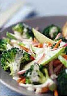 Super Broccoli Side Salad – This super side salad has it all—crunchy broccoli, tart Granny Smith apples and shredded carrots—all tossed together with tangy dill dressing.