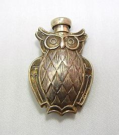 Antique Designer Tiffany CO Sterling Silver Barn OWL Bird Perfume Scent Bottle