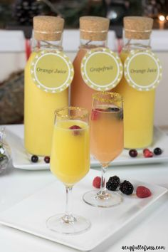 Creating a Mimosa Bar is so much fun and easy to do. This is perfect for brunch with your girlfriends! Try this Sunset mimosa recipe for your signature drink.