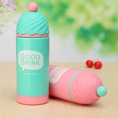 200ml 4 Colors Cute Ice Cream Modeling Double Wall Plastic Cup Thermoses Mug Thermal Bottle Thermocup Kid Gifts Water Bottle