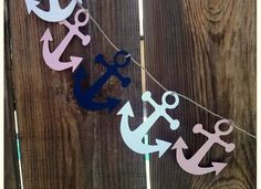 Paper Garland Anchors, Party Decor, Nautical Photo Prop- Navy, Pink White on Etsy, $6.00