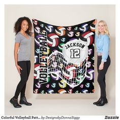 Colorful Volleyball Pattern Fleece Blanket