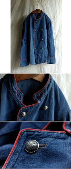 1900's France - Indigo Linen Fireman's Work Jacket -- No stitching, BUT, let us contemplate the power of a very thin line of red piping.