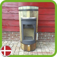 Wood-Bockstove houtkachel model Piccolo, motief oude houten planken.
