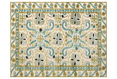 "2'2""x4' Roux Rug, Cream/Aqua on OneKingsLane.com"
