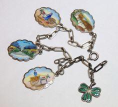 Vintage Irish, Ireland Hand Painted Enamel Charm Bracelet, Silver, Souvenir, Travel, Exclusively on Ruby Lane