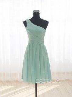Cheap Mint green One Shoulder Short Mini Chiffon prom dresses with Ruffle  -  $55.00 Form https://www.everisa.com/cheap-mint-green-one-shoulder-short-mini-chiffon-prom-dresses-with-ruffle