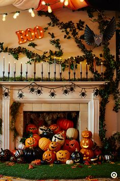 Halloween is all about letting your imagination run wild. Find spaces in your home—like a fireplace mantel—to bring to life in a whole new light. And by the way, you can never have enough jack-o-lanterns!