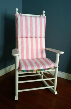 Rocking Chair Cushion for porch or baby nursery. Pink Stripe, taupe, anchor, navy, by RockinCushions, $75.00