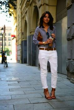 White pants, check pants, brown leather accents - FAB!