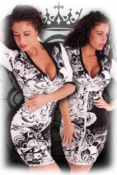 SYL fekete-fehér strasszos cipzáros ruha f5e6e91356
