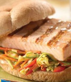 A quick and easy Asian-inspired salmon sandwich for only 300 calories! | via @SparkPeople #food #recipe #lunch #dinner #fish