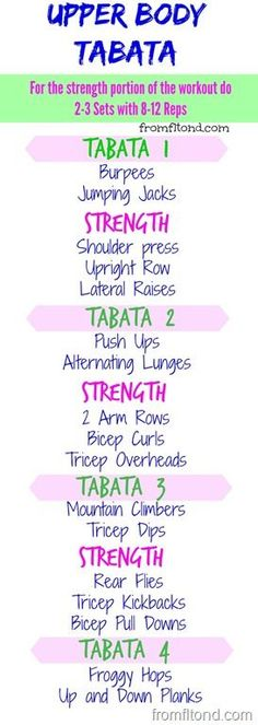 An awesome Upper Body Tabata! Burn some calories and tone up with this tabata workout