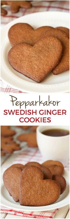 Pepparkakor (Swedish Ginger Cookies) – whole wheat, dairy-free and just as crisp and delicious as the traditional kind! Cookie Desserts, Just Desserts, Cookie Recipes, Dessert Recipes, Health Desserts, Baking Recipes, Swedish Recipes, Sweet Recipes, Norwegian Recipes