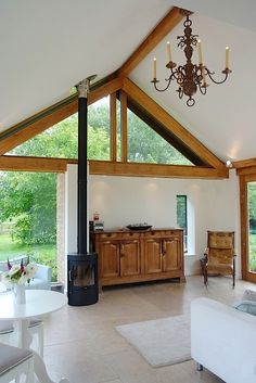 interior of rural extension. love the wood burning stove Oak Framed Extensions, Kitchen Extensions, Oak Frame House, Residential Architect, Wood Burner, Home Reno, Room Inspiration, Family Room, Hearths
