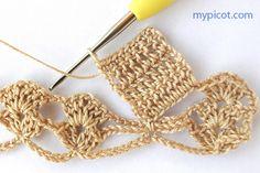 Waterford Sewing,Knitting&Alteration shop: Crochet Pattern from MYPICOT Crochet Border Patterns, Crochet Skirt Pattern, Hand Embroidery Patterns Flowers, Poncho Knitting Patterns, Crochet Diagram, Crochet Designs, Stitch Patterns, Picot Crochet, Free Crochet