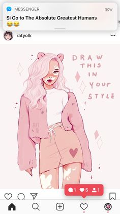 Girl Drawing Sketches, Cool Art Drawings, Drawing Poses, Art Style Challenge, Drawing Challenge, Cute Art Styles, Cartoon Art Styles, Drawing Ideas List, Arte Punk