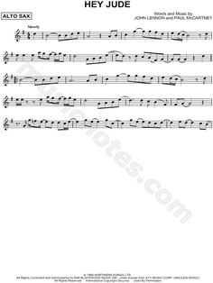 Print and download Hey Jude sheet music by The Beatles arranged for Alto Saxophone. Instrumental Solo in G Major.