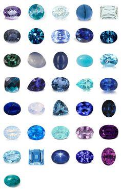 Pierres fines et précieuses bleues et violettes                              …