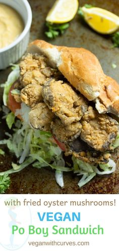 If you love fried oyster mushrooms, you are going to LOVE this Vegan Po Boy Sandwich! You won't believe how good it tastes and how close it reminds of the real thing without the use of seafood. The oyster mushrooms are battered in a flour mixture seasoned with homemade cajun seasoning and the sandwich is topped with a delicious homemade remoulade sauce. This sandwich is filling, delicious, and most importantly cruelty-free!