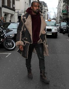 Kanye West chose to wear our Buffalo Coat in London yesterday which was originally shown in the 1982 'Nostalgia of Mud' collection.