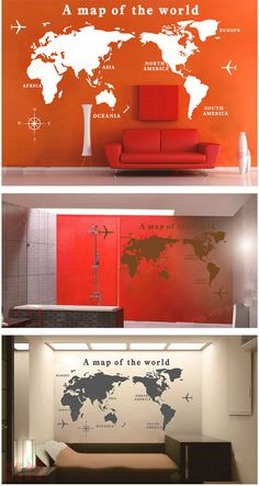 Medium size world map Vinyl Sticker-World Map Wall Sticker-Living room Wall stickers-Bedroom wall sticker