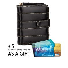 """KAFA Small Wallet Card Case plus RFID blocking sleaves (black). 5 credit card slots, 1 ID window, 1 full-length pocket, 1 zippered pocket with 2 compartments for cash and coin. Material: faux leather. Dimensions:4.53""""L x 3.93""""W x 1.18""""H. Lightweight, portable and fashionable. You get bonus from us - 5 rfid blocking sleeves. Use them to protect your financial and personal data in any wallet or bag. Ideal gift for loved ones - Great gift for one's birthday, graduation day and much more."""